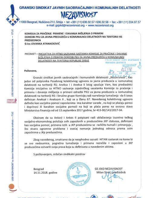 Inicijativa za hitno sazivanje sastanka komisije za praćenje i davanje misšljenja o primeni PKU za JKP na teritoriji RS
