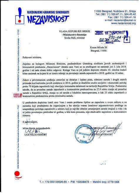 Dopis ministarstvu finansija - zahtev za povećanje zarada zaposlenih u JP i JKP